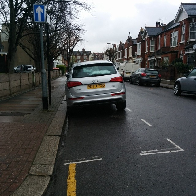 907 X 735 taking up 2 potential spaces on a busy SW London residential rd #selfishparker