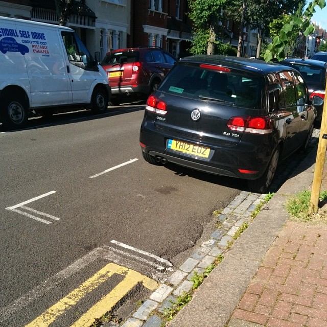 YH12 EOZ displaying Inconsiderate Parking
