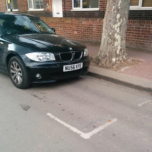 NU56 KYE displaying Inconsiderate Parking