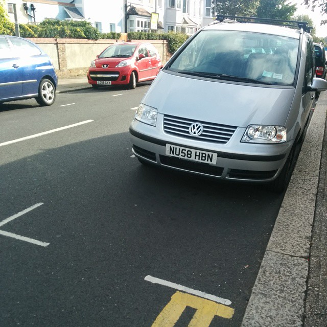 NU58 HBN not considering others by using the white lines properly. #selfishparker