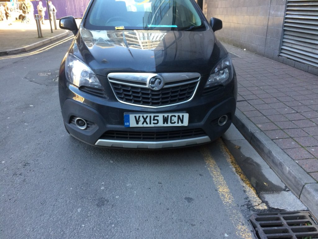 VX15 WCN displaying Inconsiderate Parking
