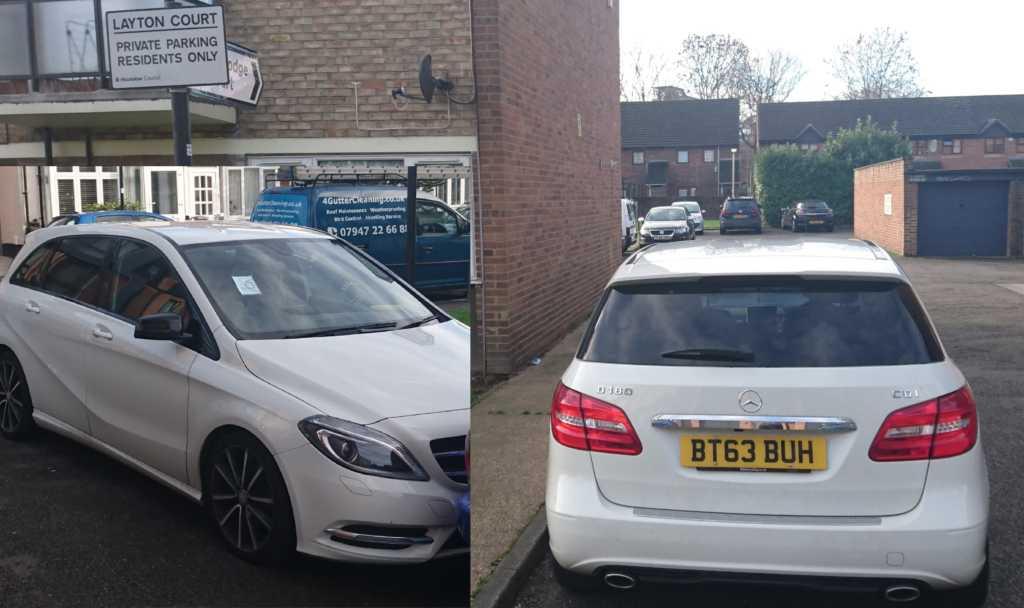 BT63BUH displaying Inconsiderate Parking