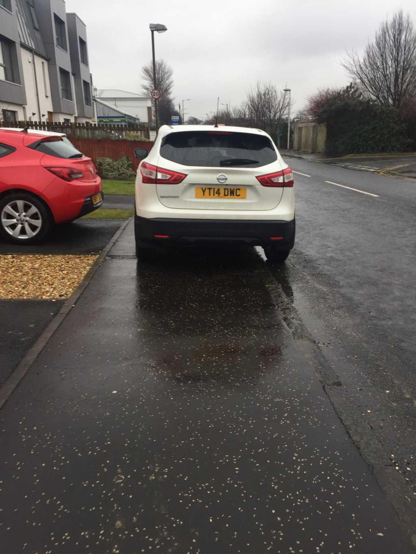 YT14 DWC displaying Inconsiderate Parking