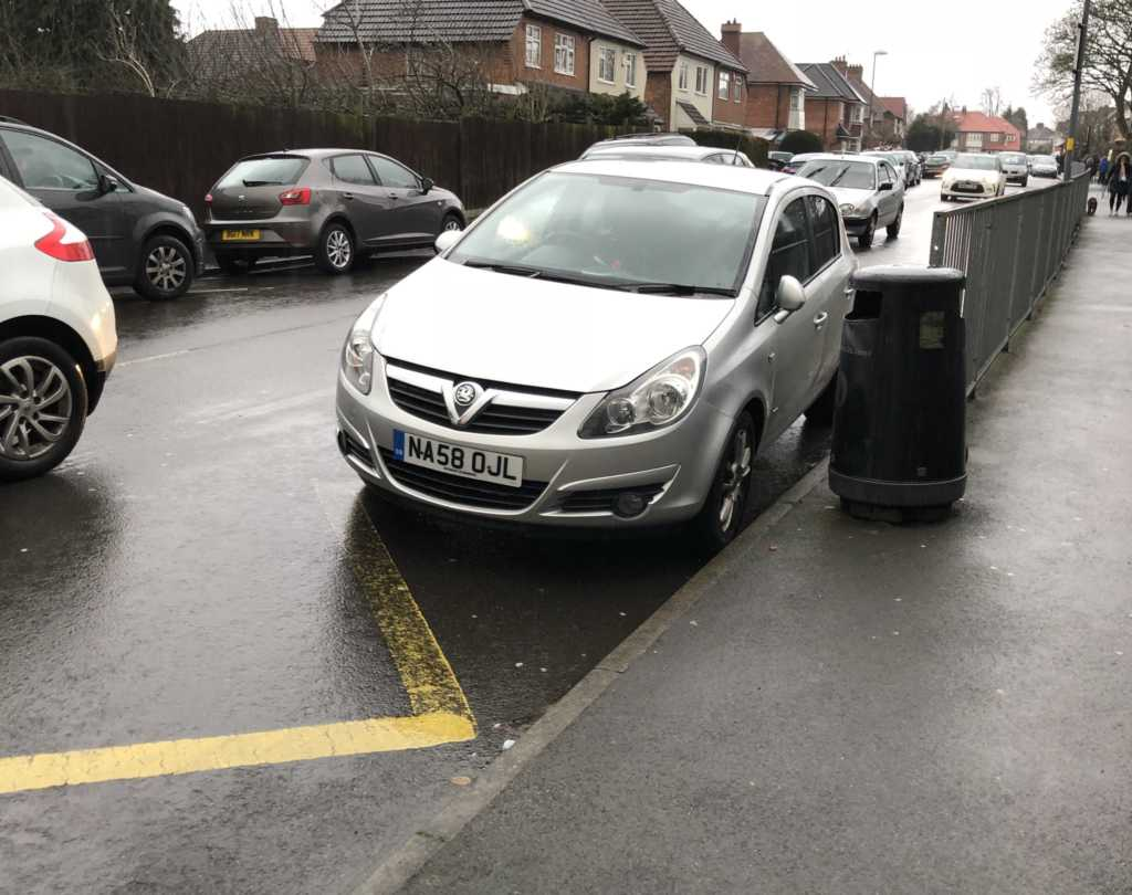 NA58 OJL displaying Inconsiderate Parking