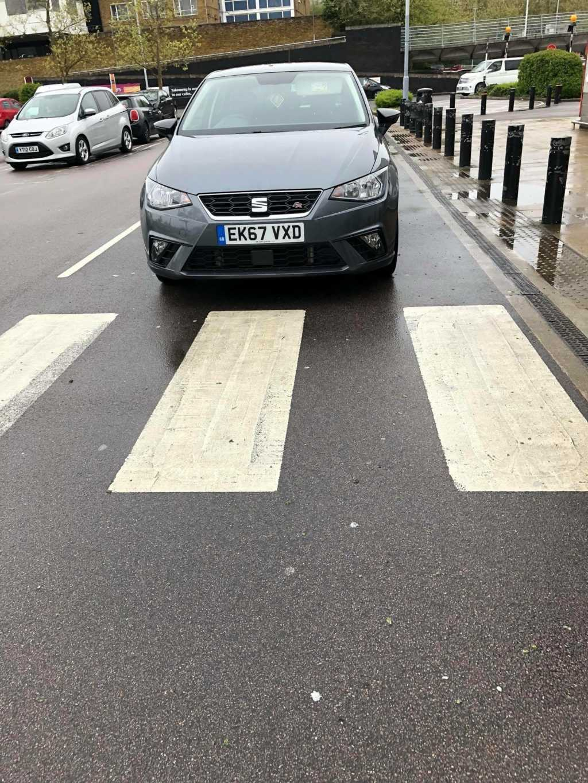 EK67 VXD displaying Inconsiderate Parking