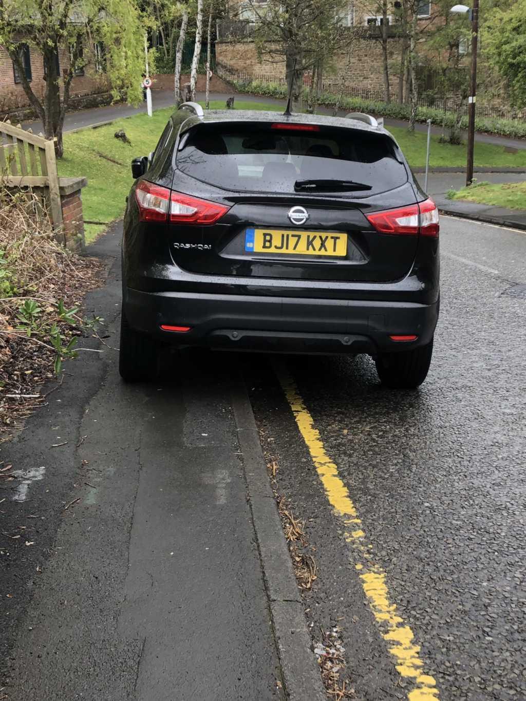 BJ17 KXT  displaying Selfish Parking