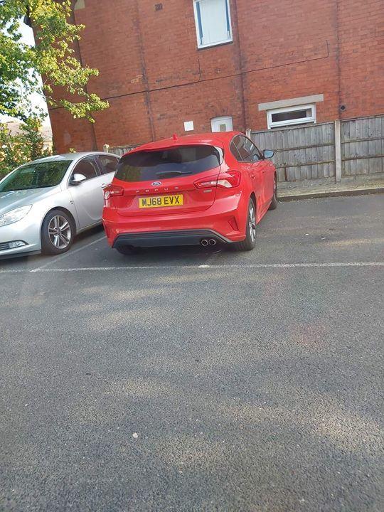 MJ68 EVX displaying Inconsiderate Parking